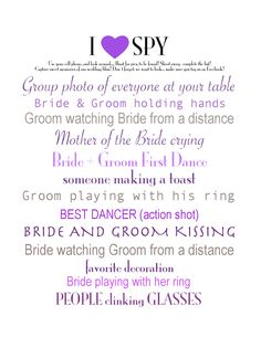 #I #SPY #Wedding #Photo #Game. Three sizes to choose from; 8x10, 5x7, or 4x6. Variety of color choices. This #DIY #Printable is ONLY $2.00