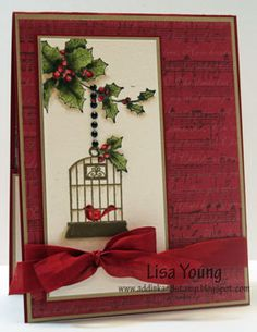 Birdcage and Holly Gift Card Holder outside by genesis - Cards and Paper Crafts at Splitcoaststampers