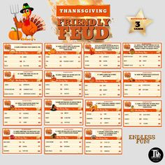 Thanksgiving Friendly Feud | Family Trivia | Thanksgiving Family Feud Games Night | Fun Family Activity | Thanksgiving Party Games Printable