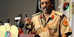 Colonel Ahmed al-Masmari, spokesperson for the Libyan Armed Forces, gives a press conference in the eastern Libyan city of Benghazi on May 11, 2016.  / AFP / ABDULLAH DOMA        (Photo credit should read ABDULLAH DOMA/AFP/Getty Images)