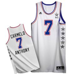Carmelo Anthony Authentic In White Adidas NBA New York Knicks 2015 All Star #7 Men's Jersey