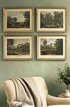 "Gold framed Bartlett prints will make the office ""Create a soft, textured wall with Ralph Lauren Paint's Suede finish in Plaza Green. Suede Paint, Interior Paint, Interior Design, Ralph Lauren Paint, Beautiful Interiors, Decoration, Color Inspiration, Home Furnishings, Paint Colors"