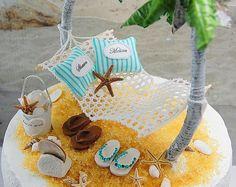 Beach Theme Honeymoon Hammock Beach Wedding Cake Topper Custom Colors Artisan Handmade To Order Beach Cake Topper, Beach Wedding Cake Toppers, Wedding Topper, Wedding Cakes, Beach Themed Cakes, Beach Cakes, Bolo Do Ben 10, Beach Wedding Reception, Wedding Rustic