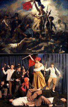"infonetorg: Photo Remake of Famous Paintings ""Liberty Leading the People"" by Eugene Delacroix Famous Artwork, Photo, Fine Art, Painting, Funny Art, Art Parody, Popular Art, Art History, Iconic Artwork"