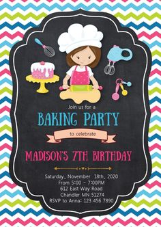 Baking Birthday Parties, Baking Party, Birthday Party Invitations Free, Happy Birthday Posters, Baking Classes, Barbie Cake, Birthday Template, Poster Templates, Event Flyers