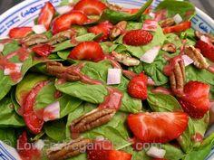 Low Fat Raw Vegan Chef's Strawberry Pecan Spinach Salad