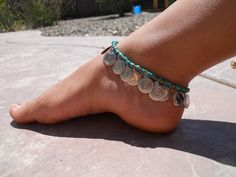 silver and turquoise anklet