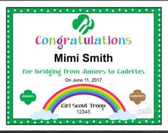 Girl Scout Bridging Certificate Brownies to Juniors Instant