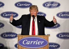 Donald Trump traveled to Indiana on Thursday to celebrate the fact that the air-conditioning and furnace manufacturer Carrier Corp. will be keeping some of its jobs in Indianapolis instead of moving more than 2,000 to Mexico.  Trump, who was introduced by his running mate, outgoing Indiana Gov. Mike