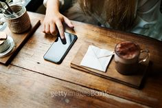 Coffee Shop Diary Relax Using Smart Phone Concept