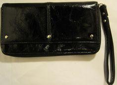 Women Faux Leather Clutch, Black, Side Pocket, Zipper. #FauxLeather #Clutch