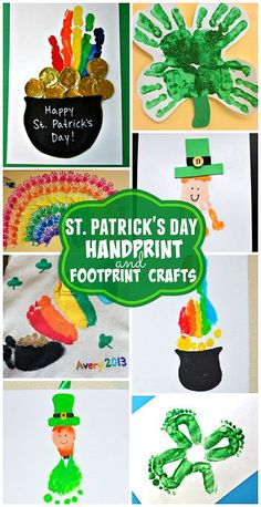 St. Patrick's Day Handprint and Footprint Crafts for Kids to Make! (Find rainbows, leprechauns, gold, and shamrocks)   CraftyMorning.com