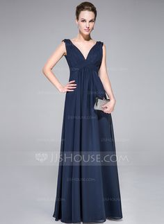 Evening Dresses - $119.99 - A-Line/Princess V-neck Floor-Length Chiffon Charmeuse Evening Dress With Ruffle Beading (007040784) http://jjshouse.com/A-Line-Princess-V-Neck-Floor-Length-Chiffon-Charmeuse-Evening-Dress-With-Ruffle-Beading-007040784-g40784