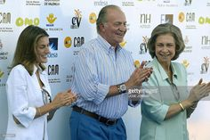 Spanish's Princess Letizia (L) wife of Prince Felipe of Asturias King Juan Carlos (C) and Queen Sofia applaud during the trophy ceremony of the Queen's cup boat race held off the coast of Valencia, 04 July 2004. Skipper and boat owner Pedro Campos on Telefonica Mobistar took the first place and Prince Felipe (out of camera range) qualified in second position.