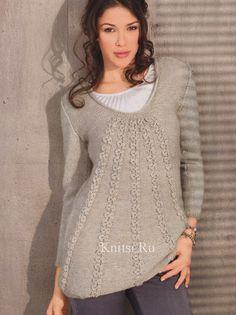 Расклешенный пуловер спицы