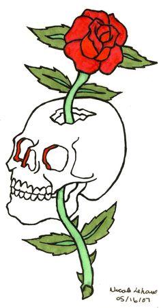 Skull & Rose  Classic tattoo design