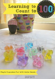 Learn to Count to 100 with Water Beads and a Cupcake Theme from The Educators' Spin On It classroom, schools, school activ, 100th day, water beads, 100 paper, learning to count to 100, activ idea, number 100