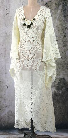 Hippie Boho Fairy Gypsy Lace Bridal Dress Formal Gown by LaineeLee on Etsy
