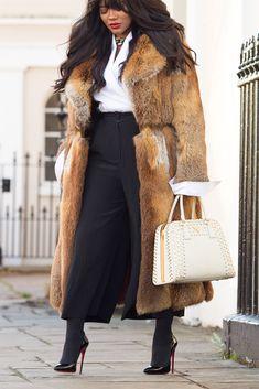 wearing: TY LR shirt (here), Elizabeth and James Culottes (similar), Vintage fur coat (here), Prada Bag (similar), Lanvin Necklace (similar), Loubotins Shoes (similar)