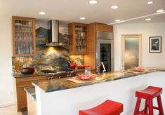 images of kitchen countertops with backsplash | Colorful granite back-splash and countertop along with retro-styled ...