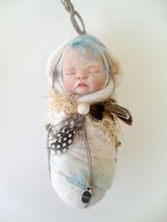 Fairy Baby in Teal and Cream by rosannasart on Etsy