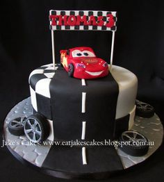 lightning McQueen cake, car topper made by me