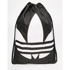 adidas Originals Drawstring Backpack in Black (28 390 LBP) ❤ liked on Polyvore featuring bags, backpacks, black, rucksack bag, adidas bag, knapsack bag, logo drawstring bags and polyester backpack