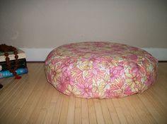 Zafu Meditation Cushion. Floor/Dorm Pillow in Pink/Yellow
