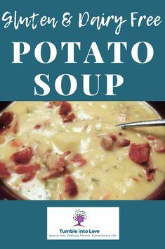 Gluten and dairy free potato soup recipe that your family will love! - Gluten and dairy free potato soup recipe that your family will love! Dairy Free Potato Soup Recipe, Dairy Free Soup, Dairy Free Snacks, Dairy Free Diet, Lactose Free, Gluten Free Soups, Dairy Free Dinners, Gluten Dairy Free, Healthy Potato Soup