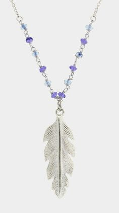 Beaded Feather Pendant Necklace