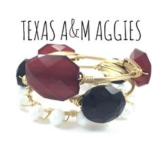 Texas A&M University Aggies Game Day Wire Wrapped Bangles Set, Courtney And Courtnie, Acrylic, Crystal Bracelet, Handmade Jewelry, Aggie by CourtneyAndCourtnie on Etsy (null)