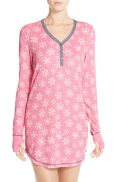 9def97515c PJ Salvage Thermal Knit Sleep Shirt available at  Nordstrom   HotPinkSnowflake  Pajamas Merry Little