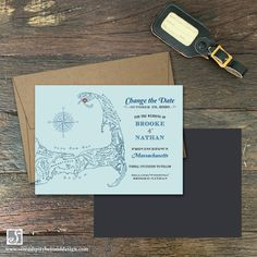 Change the Date Magnet - Cape Cod, MA - Vintage Postcard Style - Design Fee - Serendipity Invitation Fonts, Unique Save The Dates, Custom Stationery, Location Map, Personal Photo, Serendipity, Cape Cod, Unique Weddings, Destination Wedding
