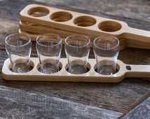 Premium Maple Beer Flight Paddle with glasses