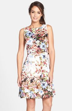 Gabby+Skye+Floral+Print+Shantung+Popover+Dress+available+at+#Nordstrom