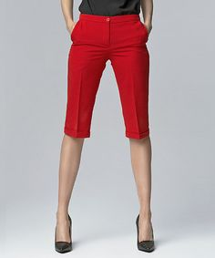 Look what I found on #zulily! Red Pleated Bermuda Shorts #zulilyfinds