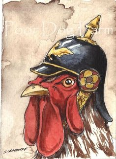Rooster in a Helmet - from the Birds in Hats series