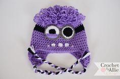 Minion Hat Purple Evil Minion Despicable Me Love Crochet, Knit Crochet, Crochet Hats, Despicable Me Costume, Purple Minions, Crochet Character Hats, Minion Hats, Evil Minions, Minion Crochet