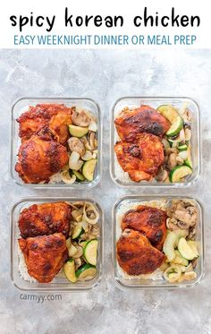 for a lunch with a bit of a kick? This Spicy Korean Chicken Meal Prep is prefect for you! The chicken is oven baked so they're wonderfully juicy and tender on the inside while still being crispy on the outside! Easy Meal Prep, Healthy Meal Prep, Healthy Eating, Healthy Dinners, Chicken Meal Prep, Chicken Recipes, Easy Weeknight Dinners, Easy Meals, Spicy Korean Chicken