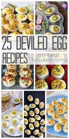 25 Deviled Egg Recipes on Real Housemoms Deviled Eggs Recipe, Hard Boiled Eggs Recipe, Egg Recipes, Appetizer Recipes, Finger Food Appetizers, Easter Recipes, Yummy Appetizers, Appetizers For Party, Holiday Recipes