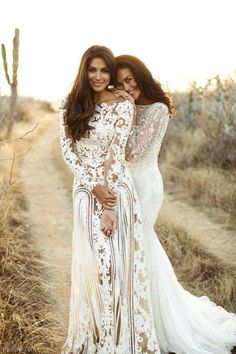 Megan Gale and Pia Miller in ZUHAIR MURAD and Bo Luca wedding dress gown bohemian beach vintage classic long sleeve lace sheath slim silhouette Non White Wedding Dresses, Lace Wedding Dress, 2015 Wedding Dresses, Wedding Gowns, Boho Wedding, Bridesmaid Dresses, Prom Dresses, Mexican Wedding Dresses, Champaign Wedding Dress