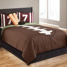 Brown Football Bedding Twin Sports Comforter Set with Pillows