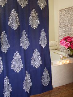 Modern Navy Blue White Paisley SHOWER CURTAIN: Turn your bath into a unique, modern space as easily as you can hang our inky-indigo shower curtain. Fresh, sophisticated and boldly elegant, this print is a modern classic with a global twist. Accessorize with silver, gold or brass, bright florals and muted whites.