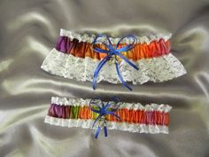 Tie Dye Garter Set Grateful Dead Dancing Bear | GartersByMadison - Wedding on ArtFire