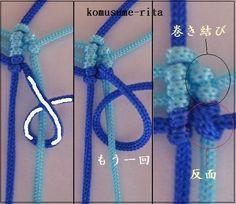 貝型のストラップ  材料リリアン糸 40cmx16本 20cmx2本  まず 結びの編み方を参考してください      にほんブログ村