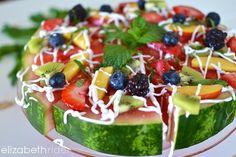 Healthy Watermelon Pizza www.elizabethrider.com #eatclean #dairyfree #healthcoach #vegan