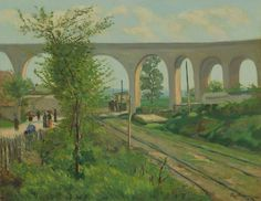 Jean-Baptiste-Armand Guillaumin French, 1841-1927, The Arcueil Aqueduct at Sceaux Railroad Crossing