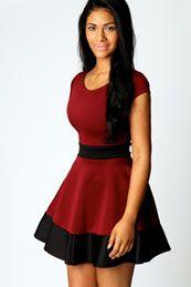 Claire Colour Block Skater Dress.