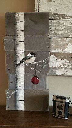 Very Pretty painting, Birch Tree, bird and Christmas ball on reclaimed wood. Awesome Christmas present idea.