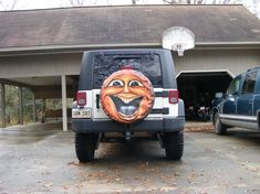 Sun Face spare tire cover by artist Dubois Studios. Custom made to fit your exact tire size. Jeep Spare Tire Covers, Jeep Tire Cover, Custom Tire Covers, Themed Engagement Photos, Tired Funny, Boat Seats, Jeep Wrangler Unlimited, More Fun, Monster Trucks